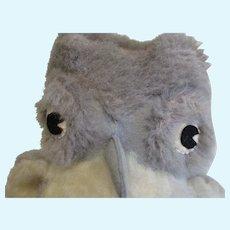 "Vintage Wool Mohair Plush 10"" Owl, Handmade, England"