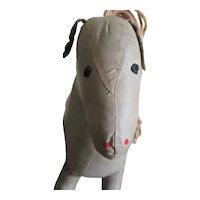 Vintage Folk Art Oilcloth Stuffed Horse