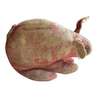 Antique Mennonite Stuffed Cloth Rabbit, Red