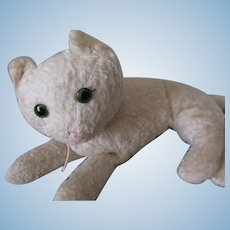 Early, Vintage Stuffed White Primitive Cat
