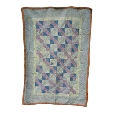 Vintage Amish Bow-Ties Crib Quilt, Pastel Cottons