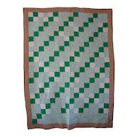 Vintage Mennonite/Amish Green Irish Chain Quilt