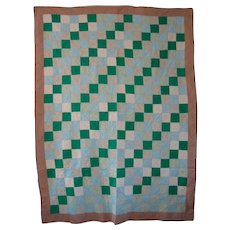 Vintage Mennonite/Amish Green Irish Chain Quilt