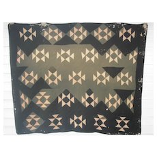 Vintage Amish Quilt, Black and Khaki Wool/Silk, Primitive & Worn