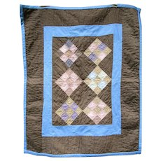 Vintage Amish Crib Quilt, Nine-Patch, Ohio