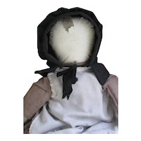 "Antique Amish Rag 15"" Doll, Oilcloth Face, Ohio"