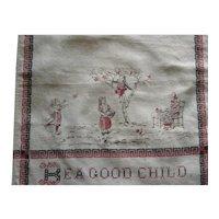 "Victorian  Printed Bib, ""Be A Good Child"""