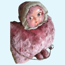 Vintage Celluloid Children's Doll Muff, Plush c1920-30's, Flapper/Art Deco.