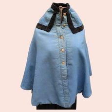 Antique Amish Girls Blue Wool Cape/Mandlie, Lancaster