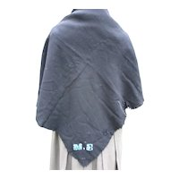 Early Amish Woman's Black Wool Shawl with Embroidery Initials