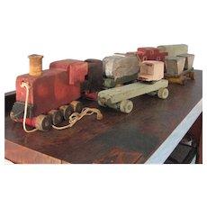 Vintage Folk Art  Painted Wood Toy Train Set