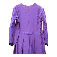 Antique Amish Woman's Dress, Purple Wool, Black Velvet Trim, c40's, Lancaster
