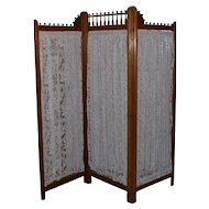 Magnificent 19th Century Antique Victorian Three Panel Dressing Screen