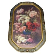 Gorgeous Art Deco Wood & Gesso Frame with a Lovely Vintage Floral Print!