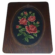Beautiful Antique Victorian Frame with a Lovely Old Needlepoint of Roses