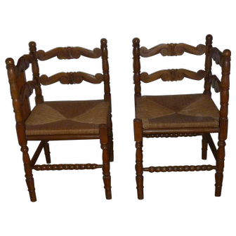 Lovely & Rare Pair of Antique Carved Walnut Corner Chairs