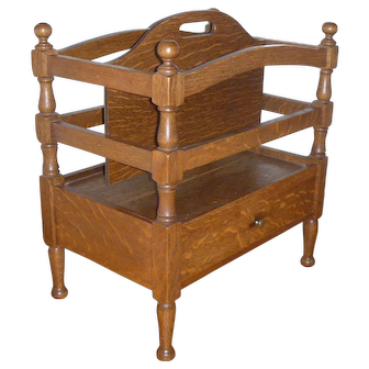 Early 20th Century Solid Oak Magazine or Music Stand Rack