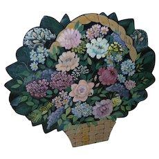 Beautiful Vintage Floral Laquered Fire Screen Firescreen