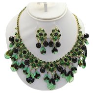 Vintage Juliana Green Black Teardrop Bead Rhinestone Necklace Dangle Earrings Demi Parure Book Piece