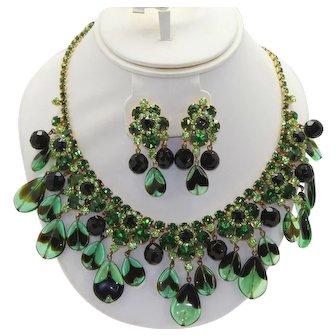Vintage Juliana Green Black Teardrop Bead Rhinestone Necklace Dangle Earrings Demi Parure Book Piece