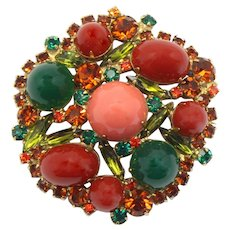 Vintage Juliana Carnelian Red Green Coral Plastic High Domed Cabochon Topaz Olivine Rhinestone Brooch Book Piece