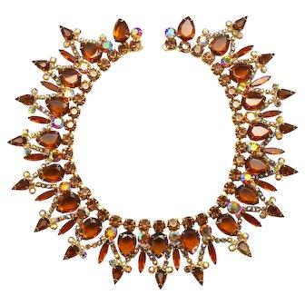 Vintage Juliana Topaz Pear Rhinestone Collar Necklace Book Piece