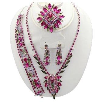 Vintage Juliana Fuchsia Pink Black Diamond Gray Rhinestone Necklace Bracelet Brooch Dangle Earrings Grand Parure Book Piece