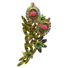Vintage Juliana Peridot Olivine Green Intaglio Rose Cameo Flower Rhinestone Brooch
