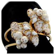 Vintage Julio Marner Mayorka Petals Heart Aventurine Copper Fluss Bead Art Glass Lampwork Rhinestone Clamper Bracelet