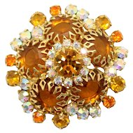 Vintage Juliana Topaz, Orange AB Rhinestone Multi-Pronged Brooch Book Piece