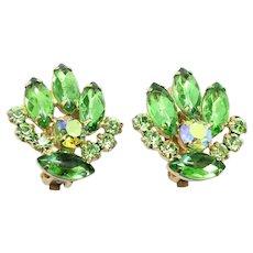 Vintage Juliana Peridot Green Rhinestone Earrings