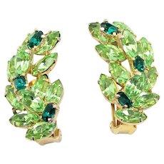 Vintage Peridot Green Rhinestone Ear Climber Earrings