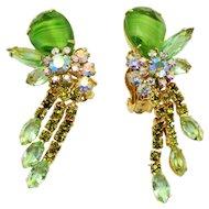 Vintage Juliana Peridot Green Striped Givre Rhinestone Dangle Earrings Book Piece