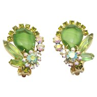 Vintage Juliana Peridot Green Striped Givre Rhinestone Earrings Book Piece