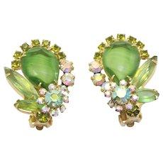 Vintage Juliana Peridot Green Striped Givre Rhinestone Earrings Book Piece