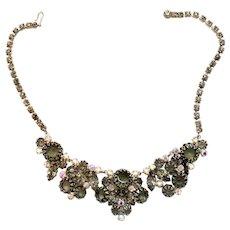 Vintage Juliana Black Diamond (Gray) Rhinestone Multi-Prong Necklace Book Piece