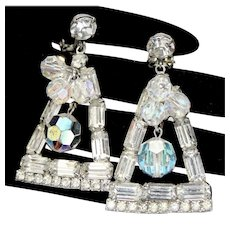Vintage Juliana Clear Baguette Rhinestone Crystal Bead Dangle Shoulder Duster Earrings