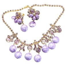 Vintage Juliana Lavender Purple Puffy Bead Givre Rhinestone Necklace Earrings Demi Parure Book Reference