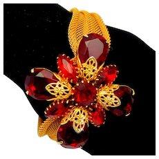 Vintage Red Rhinestone Filigree Flower Mesh Bracelet