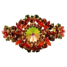 Vintage Juliana Orange, Topaz and Watermelon Rivoli Clamper Bracelet Book Reference