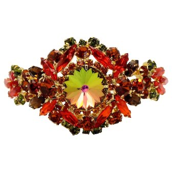 Vintage Juliana Orange, Topaz and Watermelon Rivoli Clamper Bracelet Book Reference