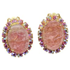 Vintage Juliana Rose Pink Geode AB Rhinestone Earrings Book Piece