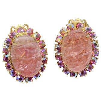 Vintage Juliana Rose Pink Geode AB Rhinestone Earrings Book Piece