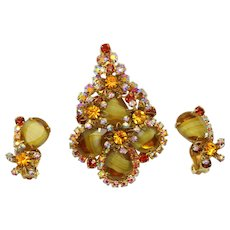 Vintage Juliana Amber Topaz Striped Givre Rhinestone Metal Flower Brooch Pendant Earrings Demi Parure