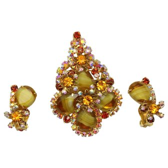 Vintage Juliana Amber Topaz Striped Givre Rhinestone Metal Flower Brooch Pendant Earrings Demi Parure