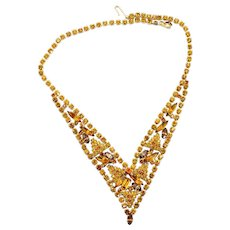 Vintage Juliana Amber Topaz Rhinestone V shaped Necklace