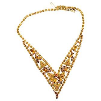Vintage Juliana Amber Topaz Rhinestone V shaped Necklace