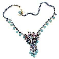 Vintage Juliana Turquoise Blue Rhinestone Polka Dot Bead Necklace Book Reference