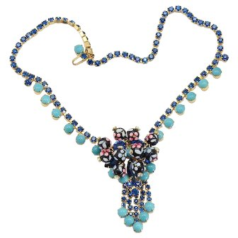 Vintage Juliana Turquoise Blue Rhinestone Polka Dot Bead Necklace Book Reference