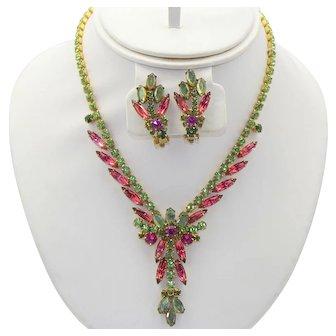 Vintage Juliana Peridot Green Fuchsia Pink Flat Backed Rhinestone Necklace Earrings Demi Parure Book Reference